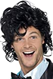 Smiffy's Men's 80's Short Black Wig with Curls, One Size, 80's Prom King Perm Wig, 43690