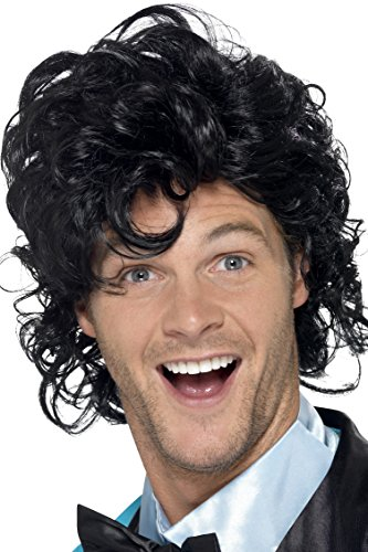 [Smiffy's Men's 80's Short Black Wig with Curls, One Size, 80's Prom King Perm Wig, 43690] (Perm Wigs)