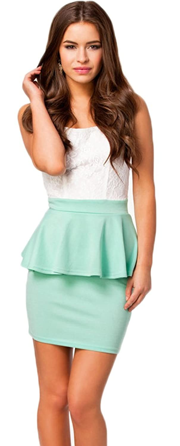 Lovelelify Women's Lotus Laced Thin Square Collar Dresses