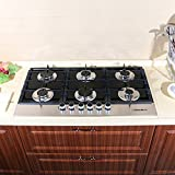 """!!! TAX INCLUDED !!! 36"""" Black Electric Tempered Glass Built-in Kitchen NG/LPG 6 Burner Gas Cooktop"""