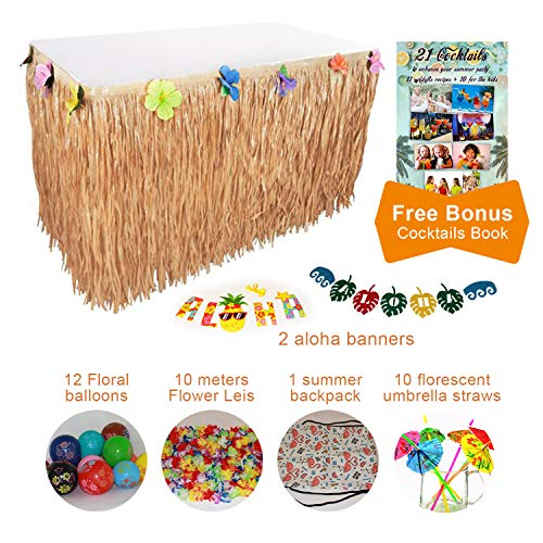 Angel's Lifestyle Products Hawaiian Party Decor All Supplies in one Pack Aloha Banner Grass Table Skirt Hawaii Theme Photo Booth Props Flower Leis n More Aloha Party Decorations by Angel's Lifestyle Products