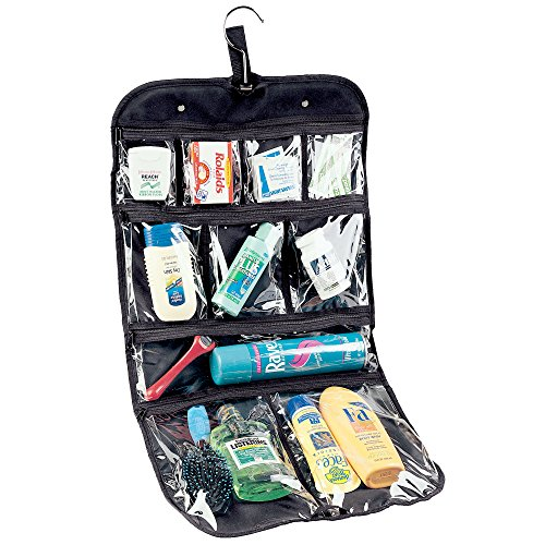 Household Essentials 06910 Hanging Toiletry Travel Bag for Men and Women - Store Travel Accessories, Jewelry, and Cosmetics - Black