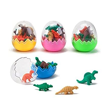 6 piezas de borradores de dinosaurios juguetes huevos fiesta relleno de bolsas favores lindos dinosaurios huevo borrador mini goma