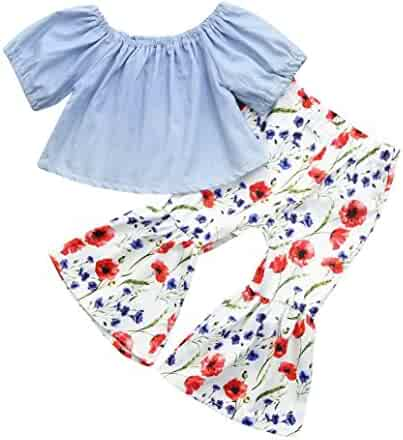 d5b770e840352 Efaster 2Pcs Toddler Baby Girls Off Shoulder Tops+Floral Horn Pants Set  Outfit