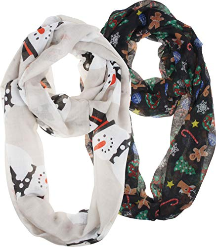 VIVIAN & VINCENT 2 Pack of Soft Light Weight Elegant Sheer Infinity Scarf (Gift Idea) Christmas Black C2 & White Snowman C7 (Gifts Snowmen)