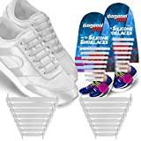 Diagonal One No Tie Shoelaces for Kids & Adults. The Elastic Silicone Shoe Laces to Replace your Shoe Strings. 16 Slip On Tieless Flat Silicon Sneakers Laces (silver)