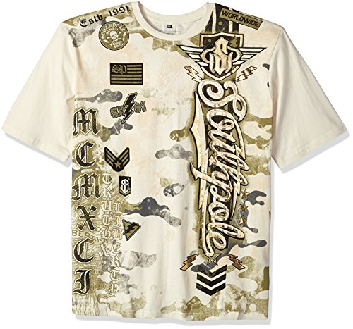 Southpole Men's Big and Tall Bt Short Sleeve Hd, Foil, Flock Print All Over Graphic Tee, Bone/Hd Logo, 4XB