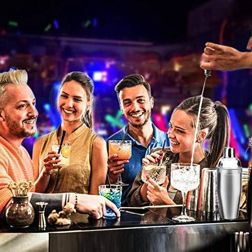 Cocktail Making Set, Cocktail Shaker Set 550ml Edelstahl Bar Tool Set Barkeeper Kit mit Holzständer
