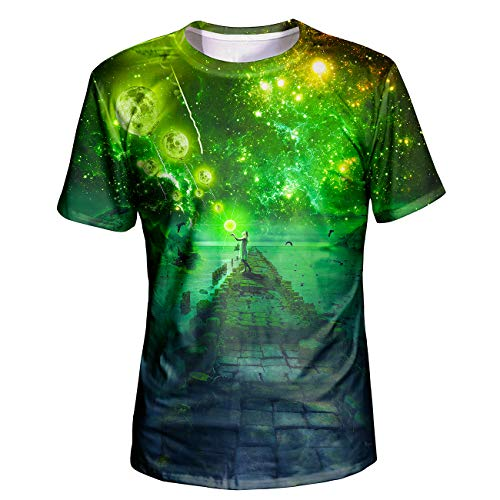 Asylvain Unisex Green Planet and Bridge 3D Graphic Deisgn Summer Shirts for Men and Women, XX-Large