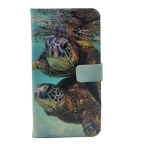 iPhone XR Case, Sea Turtles Couple Slim Wallet Card Flip Stand Leather Pouch Case Cover for iPhone XR ()