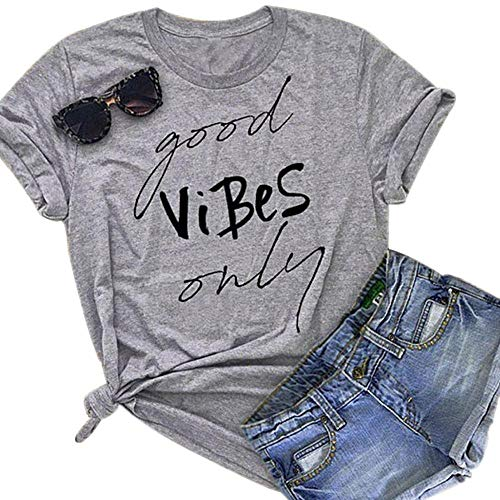 (T Shirts for Women Graphic Funny Saying Good Vibes Only Summer Short Sleeve Tees T-Shirts Tops)