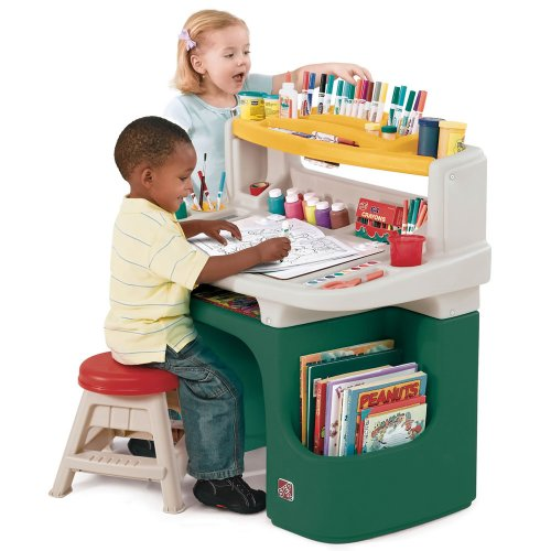 Step2 Art Master Activity Desk for Toddlers - Kids Learning Crafts Table with Chair and Storage - Multicolor]()