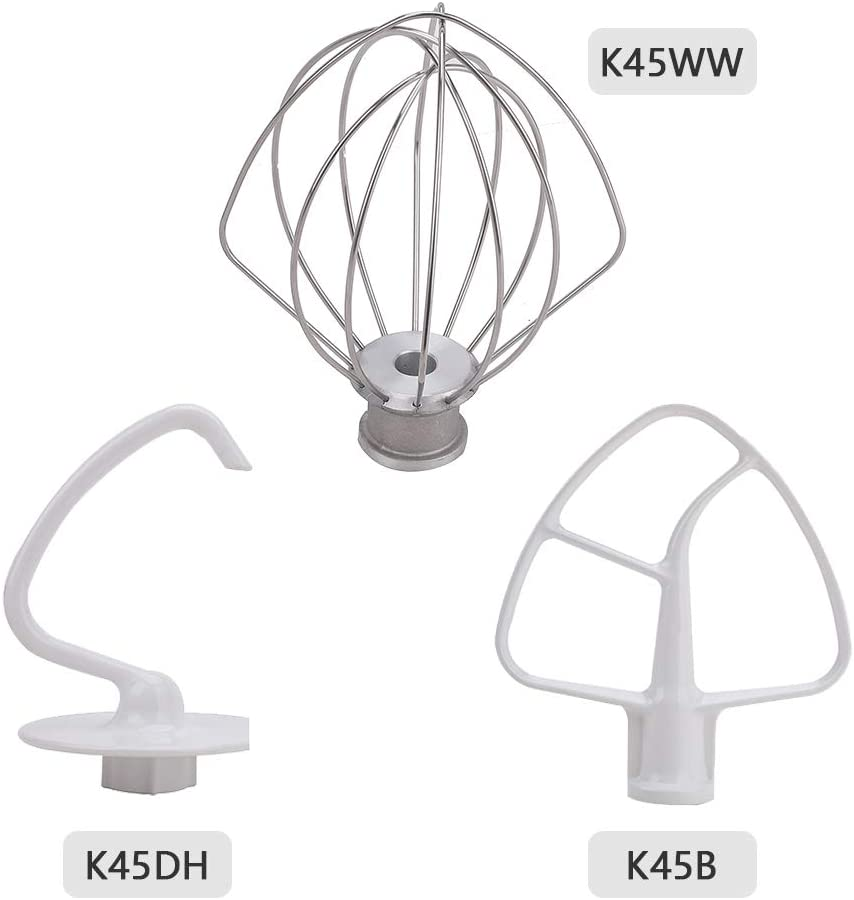 BTNTVEN 3 Pcs K45DH & K45WW & K45B Mixer Repair Set Replacement Parts - K45DH Dough Hook K45WW Wire Whip K45B Coated Flat Beater Compatible with Kenmore Roper Maytag