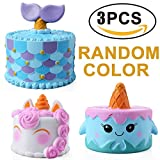 Slow Rising Squishies,ASDOMO 3PCS Squishies Unicorn Narwhal Mermaid Cake Kawaii Cream Scented Stress Relief for Kids/Adult Random Color 14CM