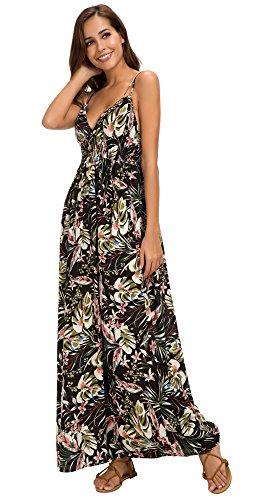Urban GoCo Mujer Vestido Largo Maxi de Verano Elegante Boho Backless Sundress para Boda Playas Fiesta Noche #4 Negro