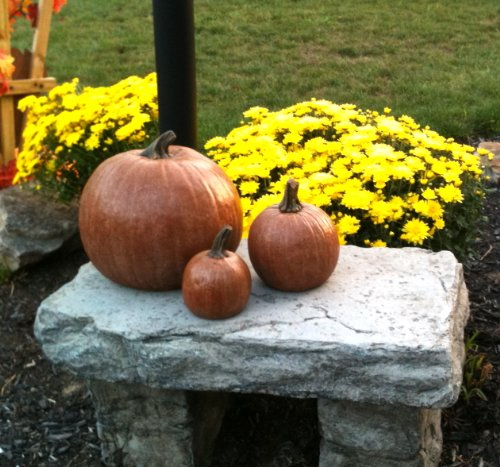Athena Garden Decorative, Cast Stone Pumpkin, 3 Sizes, Fall & Autumn Decor, Halloween Decoration
