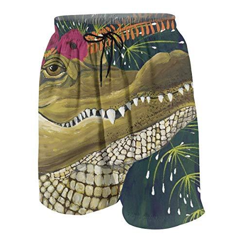 (Cartoon Characters Flower Crocodile Illustration Boys Swim Trunks Boardshorts Kids Beach Swim Shorts Beach Wear Quick Dry White)