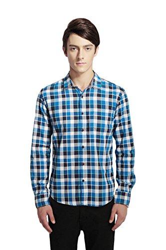 Dots Cotton Dog Collar (Pau1Hami1ton P-04 Men's Slim Fit Casual Cotton Button-Down Long Sleeve Dress Shirt(S,Big Blue))