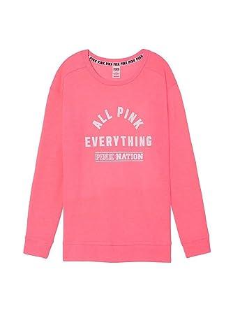 Victoria's Secret PINK NATION Campus Crew Sweatshirt Hot Pink ...