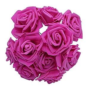 YONGSNOW 30Pcs/lot 8cm PE Foam Rose Artificial Flower Bouquets for Wedding Party Decoration (Rose red) 23