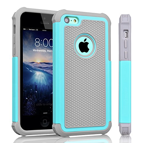 iPhone 5C Case, Tinysaturn(TM) [Ysaturn Series] Hybrid Shock Absorbing Dual Heavy Duty Hard Shell Rubber Inner Soft Silicone Armor Against Scratches Slim Cover Case For iPhone 5C [Mint/ Grey]
