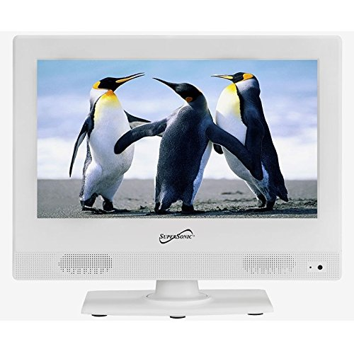 Supersonic SC-1311 White 13.3-Inch LED Widescreen HDTV 1080p Television with HDMI - Hdtv Widescreen 1 Lcd