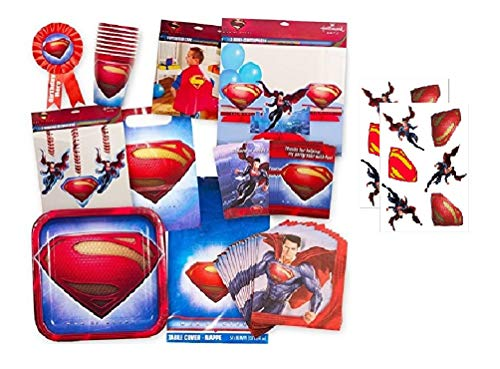 Superman Party Supplies Ultimate Set -- Superman Birthday Party Favors, Decorations, Cape, Table Cover, Invitations and More