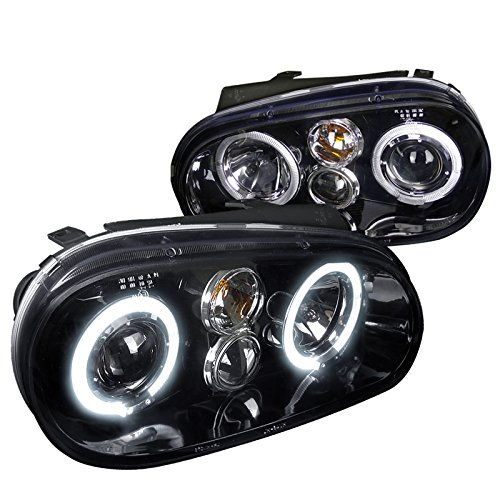 Spec-D Tuning LHP-GLF99G-TM Volkswagon Golf Dual Halo Glossy Black Projector Headlights - Golf Dual Halo Projector Headlights