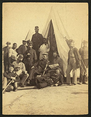 1861 Photo Soldiers of the 79th New York at camp Photograph (possibly a half-stereograph) shows soldiers posed in front of a tent. Three African American men, probably servants, stand in the backgroun