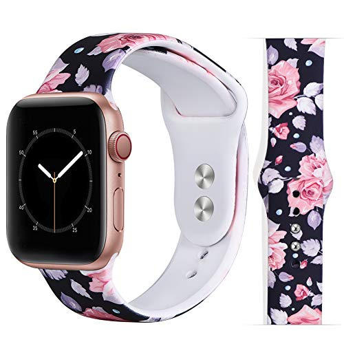 EXCHAR Compatible with 40mm 38mm apple watch band women Floral Replacement Bands for iWatch Series 4, Series 3, Durable Prints, Soft Comfortable Silicone S/M Y17