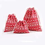"""Drawstring Burlap Bag, Burlap Snack Bags,Christmas Tree Bag for Packing Craft Gift, Candy.Gift Bag Full of Christmas Atmosphere (3-Pack) (Red Tree, M-7.5""""x9.4"""")"""