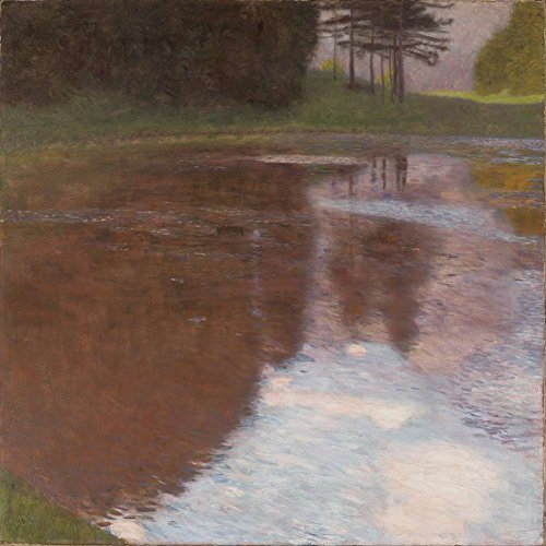 JH Lacrocon Gustav Klimt - Tranquil Pond (Egelsee Near Golling Salzburg) Canvas Wall Art Rolled 90X90 cm (Approx. 36X36 inch) - Lake Water Landscape Paintings Reproductions Prints (Best Lakes Near Salzburg)
