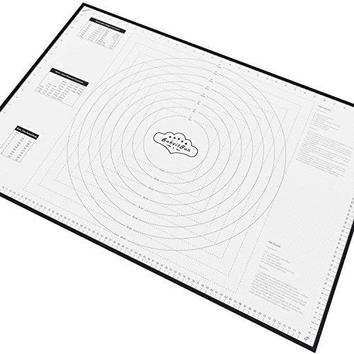 (XX-Large Silicone Pastry Mat With Measurements, 33.5 x 22.5 Inches, Full Sticks To Countertop For Rolling Dough, Conversion Information Included, Perfect Fondant Surface, Black)