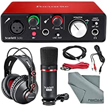 Focusrite Scarlett Solo Studio Kit Bundle -Contains Scarlett Solo USB Audio Interface + CM25 Condenser Microphone + HP60 Studio Headphones and + Cables, Fibertique Cleaning Cloth