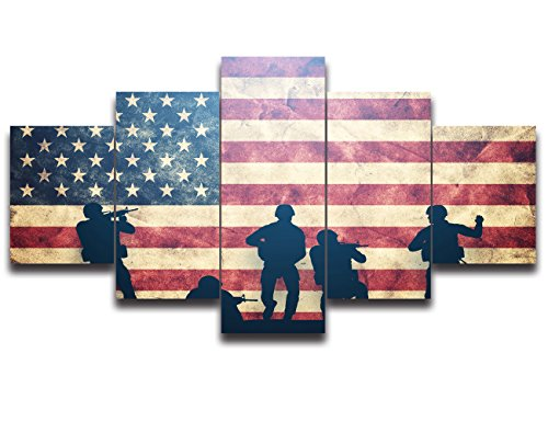 Box Tree Gallery (Vintage American Flag Canvas Military Pictures for Living Room Print USA Modern Painting 5 panel Framed US Posters and Prints Bedroom Giclee Print Gallery Wrap Artwork Stretched Hooks(50''Wx24''H))