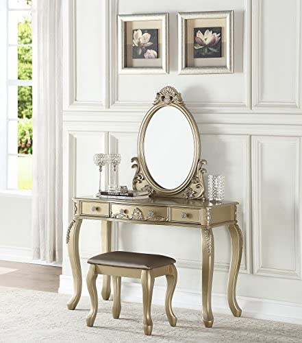 BOBKONA PDEX- Oval Shape Mirror Vanity Table With Stool Set, Champagne