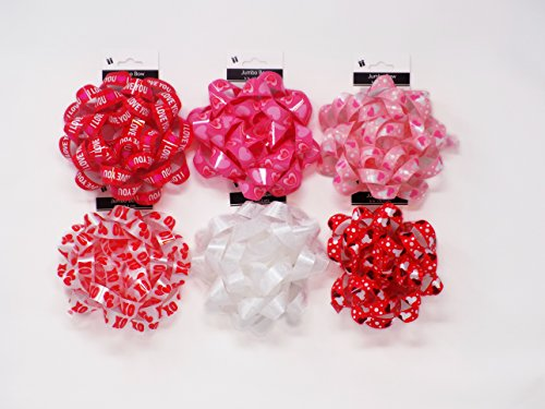 Set of 6 Heart Love Red Pink White Large 5in Bows for Gift Wrap Wrapping Self Adhesive