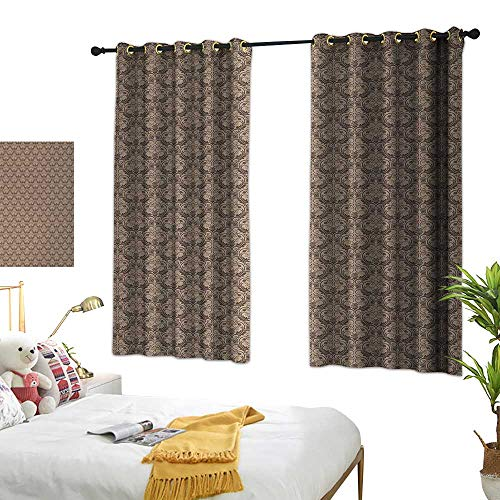 (Curtain for Kids Antique Venetian Vintage Flowers with Swirling Lines Renaissance Revival Curvy Tile W72 xL72 Brown and Cocoa Suitable for Bedroom Living Room Study,etc.)