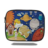 Laptop Sleeve Case,Educational,Cartoon Style Planet System and Astronaut in Outer Space Galactic Adventure Decorative,Multicolor,iPad Bag