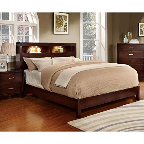 Furniture of America Clement Platform Bed with Lighting Brown Cherry Finish Queen