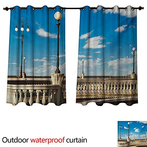 WilliamsDecor Italian Outdoor Curtains for Patio Sheer Mascagni Terrace Street Promenade of Livorno Tuscany Artwork Print W63 x L72(160cm x 183cm) ()