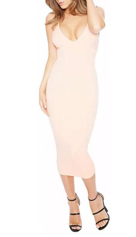 YUNY Womens Harness Fashion Slim Sexy Deep V-neck Dresses