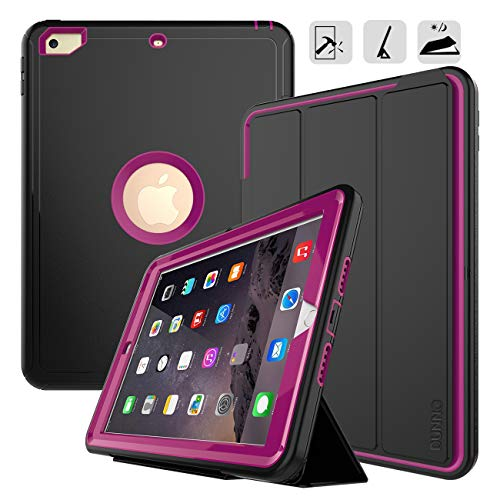 New iPad 9.7 2017/2018 case - DUNNO Heavy Duty Full Body Rugged Protective Case with Auto Sleep/Wake Up Stand Folio & Three Layer Design for Apple iPad 9.7 inch 2017/2018 (Black+Rose)