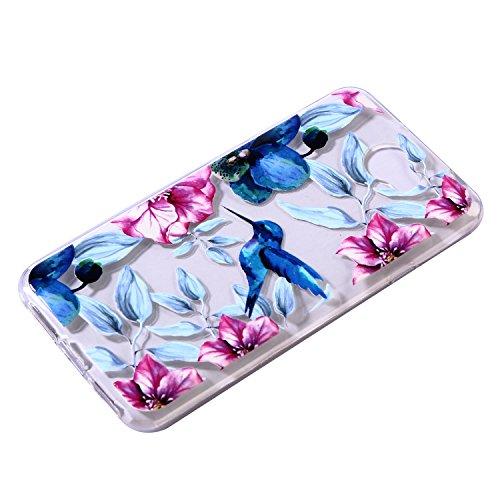 Funda Huawei Y5 II TPU Silicona Carcasa(con Gratis Pantalla Protector),KaseHom Elegante Hermosa Mariposa Azul Patrón [Shock-Absorción y Anti-Arañazos] Transparente Suave Flexible Caucho Caso Azul Pájaros y flores rojas