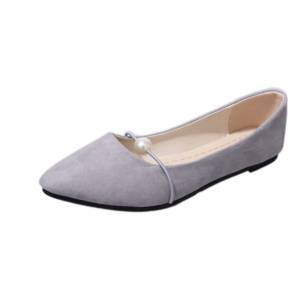 VANSOON Clearance Sandals Women's Flat Boat Shoes Solid Suede Flat Heel Pearl Flat Heel Pointed Casual Single Shoes Gray