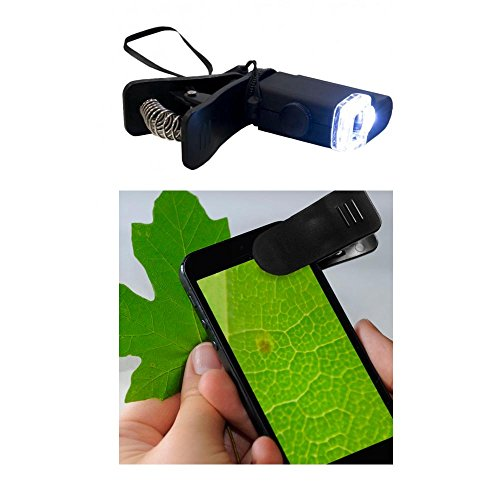 1 x Smartphone Microscope Clip-On 15x Zoom with LED Light Cell Phone Magnifier
