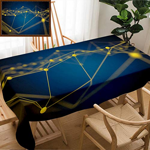 Skocici Unique Custom Design Cotton and Linen Blend Tablecloth Fintech Technology and Blockchain Network Concept Distributed Ledger Technology YellowTablecovers for Rectangle Tables, 70