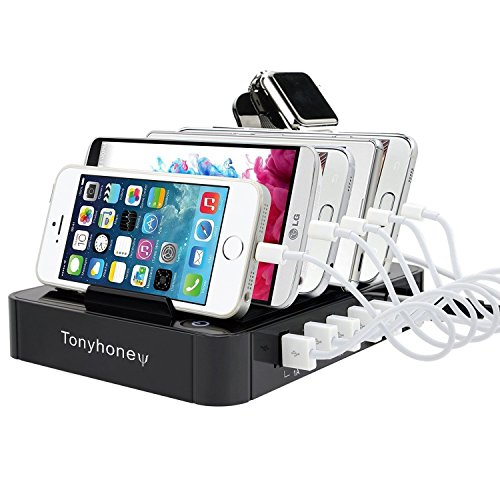 6-Port USB Charging Station Dock Stand & Device Organizer, Multiple Devices Charger Station, Universal Electronics Cell Phone Docking Station for iPhone 6/7/8/X, iPad, Tablets & Other Gadgets