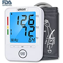 Urion Blood Pressure Monitor, Upper Arm Blood Pressure Machine, Automatic BP Monitor, FDA Approved, Wide Range Cuff 8.7'' to 12.6'' and 2 User Mode Perfect for Home Use
