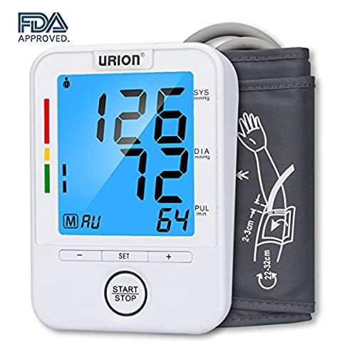 Urion Blood Pressure Monitor, Upper Arm Blood Pressure Machine, Automatic BP Monitor, FDA Approved, Wide Range Cuff 8.7'' to 12.6'' and 2 User Mode Perfect for Home - Automatic Arm